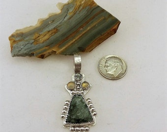 Seraphenite Cabochon, 2 Ethiopian Opals Cabochons, Faceted Green Sapphire, Art Deco Inspired Handcrafted Sterling Silver Pendant