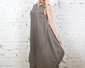 Grey linen dress, Linen tunic dress, sleeveless linen dress, loose fitting linen, long linen top, linen tunic, summer dress/LD0011