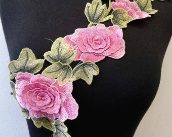 Pink sew on embroidered flower patch applique