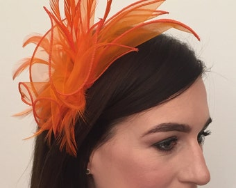 Alicia Orange Organza and Feather Fascinator on Headband Bridal Prom Races Race Day Wedding Hair Piece