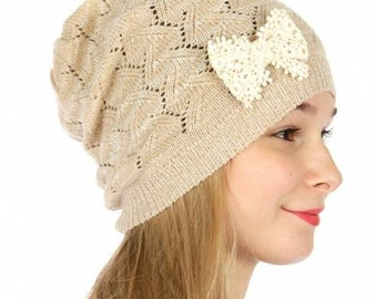Beige Beanie Beige Knitted Hat Beanie with Bow Taupe Knitted Hat Beanie Hat Womens Hat Brown Knitted Hat Knit Beanie FREE U.S. SHIPPING