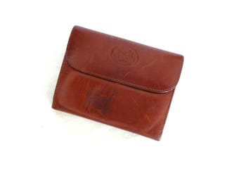 Hermes Billfold---Brown Leather---Tri-Fold Wallet with Change Compartment