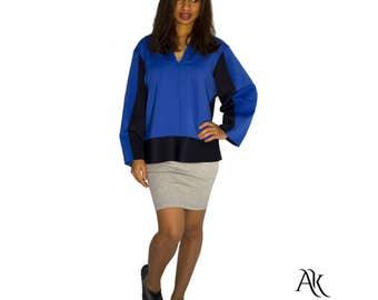 Neoprene Blouse - Oversized Neoprene Blouse - Blue and Dark Blue Blouse - Neoprene Top by Anna Karinna