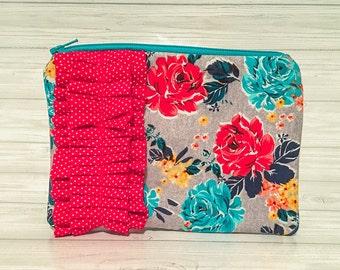 Grey floral red polka dot ruffle pouch, zipper pouch, wallet, clutch, cell phone wallet, makeup bag