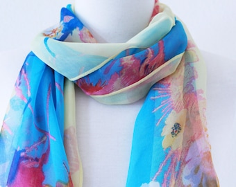 ON SALE//Soft Long Wrap Scarves / Blue, Pink and Lemon Yellow / Floral / Spring Summer Scarf / Women Scarves / Accessories / Handmade