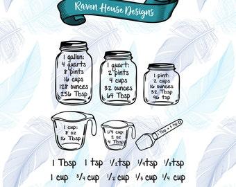 Kitchen Conversion - Measuring Cups - Measuring Spoons - Digital Download - SVG Cut Files - EPS Cut Files - Cameo Cut File - Cricut Cut File