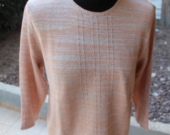 Women's 3/4 sleeve knitted sweater.Peach knitted sweater. Peach knitted pullover.Spring/ Summer knitted sweater.Womens knit pullover.