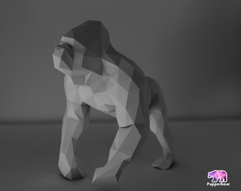 Low poly gorilla monkey   porpoising model printable DIY pdf papercraft template, Paper sculpture
