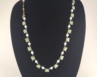 Jade Colored Czech Glass Teardrop Beaded Necklace
