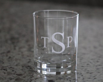 Etched Old Fashioned Glass