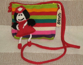Hand Knit Purse with Doll Applique, Knit Wallet, Knit Handbag, Fair-Trade Handmade Purse, Fairtrade Knitted Purses, Fair Trade Knitted Bags