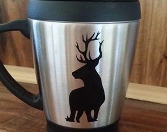 stainless steel Coffee Mugs- Elk- Elk Cup- Hunting Cups- Gifts for Him- Country- Country Theme- Stainless Steel mugs valentine's day gift