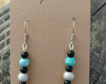 Frosted Glass and Wood Dangle Earring