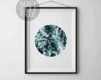 Sea Photography Circle print Nature Photography Instant download Printable art Wall art Nature poster Modern art