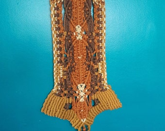 Vintage Macrame Wall Hanging with Copper Hardware