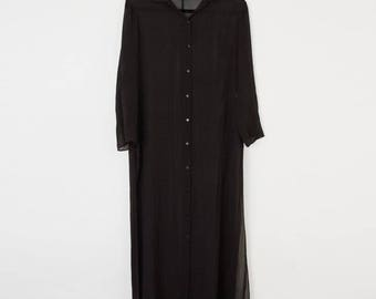 Sheer Silk Oversized Black Shirt Dress Side Slits X Small