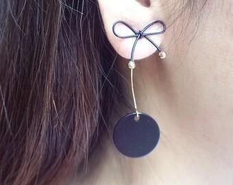 Bow screw back earrings/ Drop circle Earring/ Long Bow Earrings with Drop/ Bow earring/ Bow Tie Ring, Knot Wire Wrap Statement earring