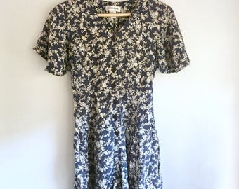 Navy Floral 90s Romper with Tie back | Size M | Women's Vintage Clothing