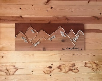 Explore Mountains String Art Wood Sign Handmade Painted Stained Adventure Decor