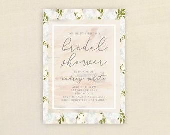 Bridal Shower Invitation, FLORAL BRIDAL SHOWER Invitation, Shower Invite, Pink, Floral, Blue,  Stationary, Download