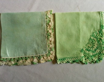 Green Linen Handkkerchiefs