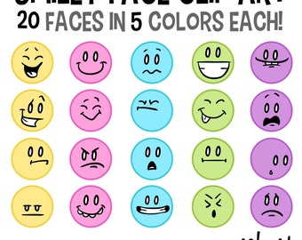 Smiley Face Clip Art, Emoticon Clip Art, Facial Expressions, Face Clipart, Color Emoticon, Happy Face Clip Art, Emoji Clipart, Feelings Art
