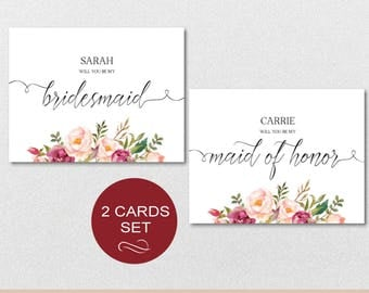 Will you be my Bridesmaid Proposal Card + Will you be my Maid of Honor Card set, Printable Editable PDF-Download Instantly| VRD715BSF