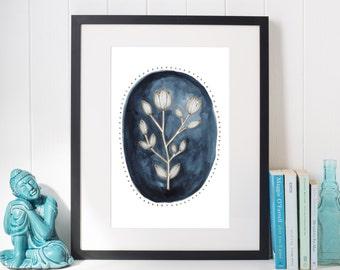 Botanical Print, Botanical Illustration, Indigo Print, Botanical Art, Watercolor Print, Printable, Watercolor Flowers, Dear Juniper Rose