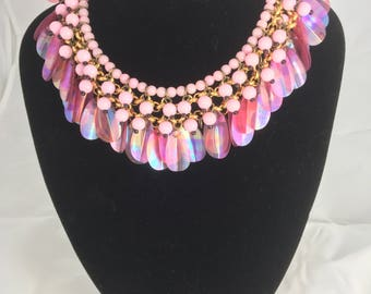 1960's Pink Pearlised Paillette ' GO-GO ' necklace....