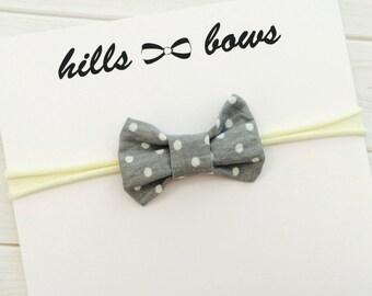 Grey Bow, Baby Headband, Baby Girl Headband, Baby Bow, Newborn Headband, Nylon Headbands, Toddler Headband, Baby Girl Bows
