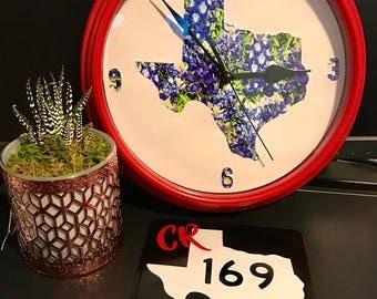 Custom Made Texas Bluebonnet Clock