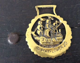 Vintage 1620 Mayflower Horse Brass / Farm / Country / Rustic / Bridle