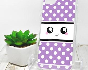 Kawaii Smile iPhone 7 Case - Purple and White Polka Dot - iPhone 7 Plus Case