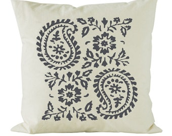 Big Paisley screen printed cushion on calico in slate