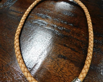Braided Leather Necklace with Pendant
