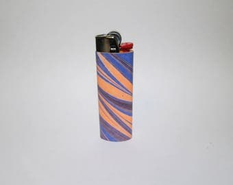 Striped lighter, Bic,  coral, purple and blue, marbled