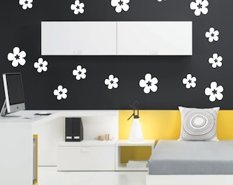 Daisy Flowers x 18 wall art decal stickers