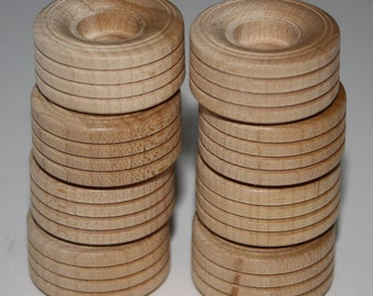 "8 Wooden Treaded Wheels/Tires **1"" in Diameter, 1/2"" Wide**"