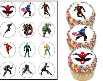 Superhero edible cupcake toppers, Superhero cupcake toppers, Super hero cupcake, captain america, spiderman, thor, the flash, wolverine,more