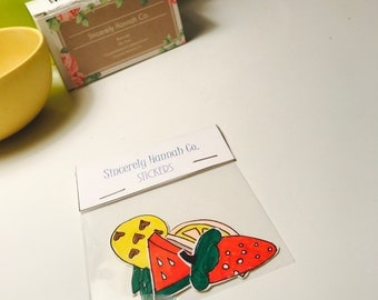 Hand Drawn Fruit Stickers 4 pack - Laminated