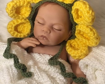 Newborn Girl Flower Hat, Baby Flower Hat, Newborn Photo Prop, Crochet Flower Hat Newborn