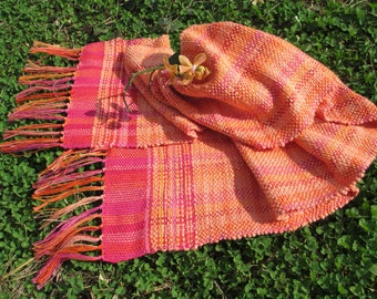 Handwoven spring scarf/Handwoven wrap/summer scarf/pastel wrap/pastel scarf/peach/apricot/pink/red/orange
