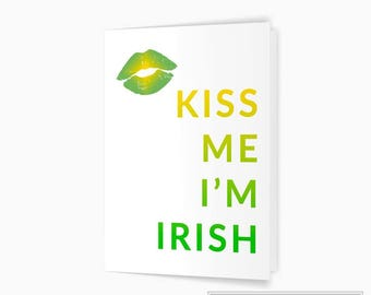 Kiss Me I'm Irish Card, St. Patrick's Day Card, Irish Greeting Card, Printable Card, Instant Download, 5x7 Digital Card