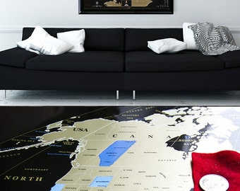 Large Framed Personalized World Scratch off Map, w USA separated states, Personal gift  Business Gift Office Wall Decor push pin World map