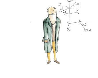 Original Scientist Watercolors- (Einstein, Darwin, Rosalind Franklin or Watson and Crick)
