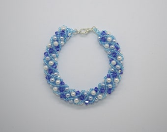 Blue and white Swarovski pearl and crystal bracelet