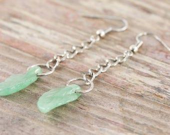 Aventurine green leaf earrings in silver