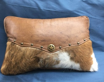 Custom Leather and Hair on Hide Western Pilllow