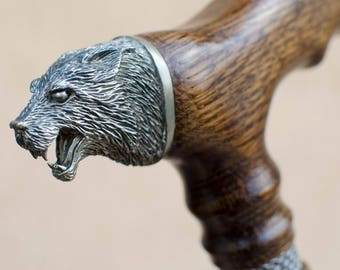 Custom Walking Cane WOLF Fashionable Walking Stick Hand-Carved of Oak Wood Walking Sticks Canes Gift for Men Gift for Husband