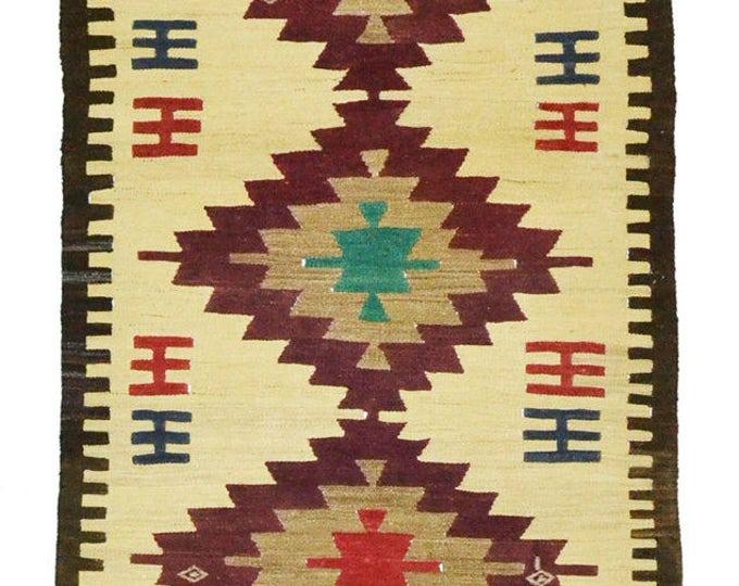 Free Shipping* 148 cm x 89 cm/ 4,85 x 2,91 ft / VINTAGE OUSHAK RUG Kilim Rug Oushak Rug Hand Woven Turkish Rug Vintage Mut Kilim Rug